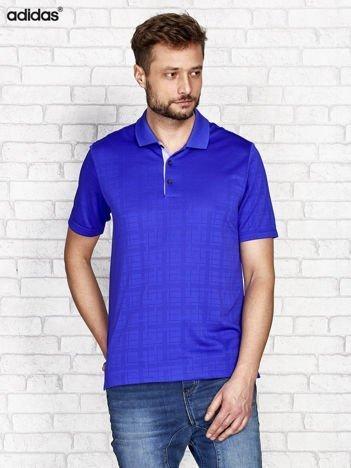 ADIDAS Niebieska koszulka polo męska w drobny graficzny wzór