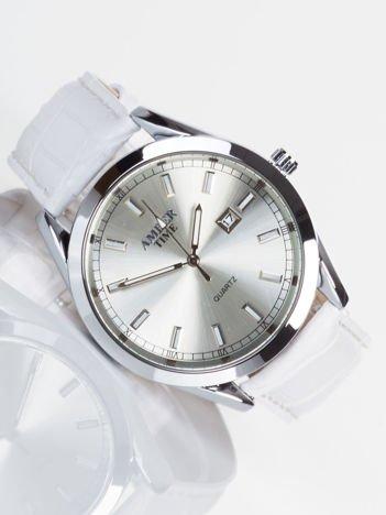 AMBER TIME biały stylowy męski zegarek z datownikiem.