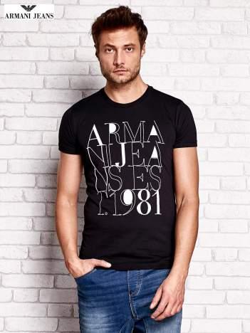 ARMANI JEANS Czarny t-shirt męski z nadrukiem
