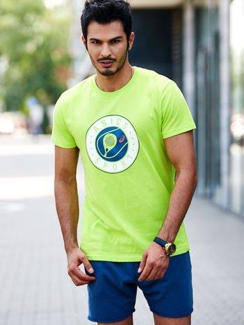 ASICS Limonkowy sportowy t-shirt męski z okrągłym nadrukiem