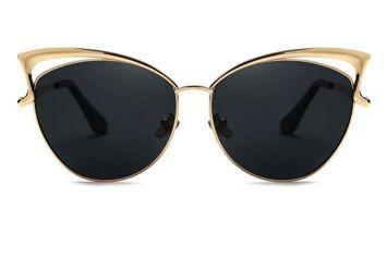 ASPEZO Okulary przeciwsłoneczne damskie POLARYZACYJNE czarno-złote HOLLYWOOD Etui skórzane, etui miękkie oraz ściereczka z mikrofibry w zestawie