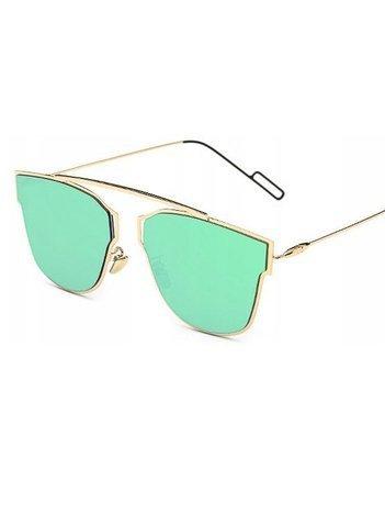 ASPEZO Okulary przeciwsłoneczne damskie POLARYZACYJNE zielono-złote HAWAII Etui skórzane, etui miękkie oraz ściereczka z mikrofibry w zestawie