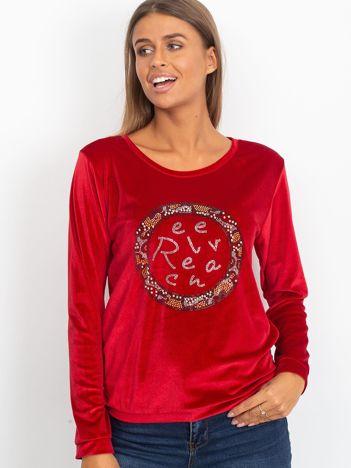 Aksamitna bluza z aplikacją czerwona