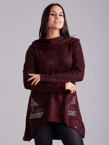 Asymetryczna bluza z kapturem bordowa