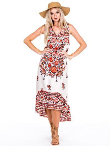 Asymetryczna sukienka w etniczne wzory czerwona