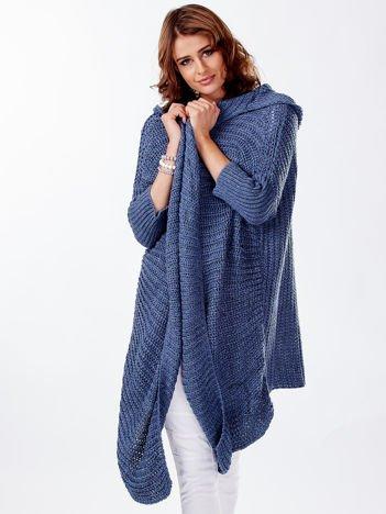 Asymetryczny sweter nietoperz z kapturem niebieski
