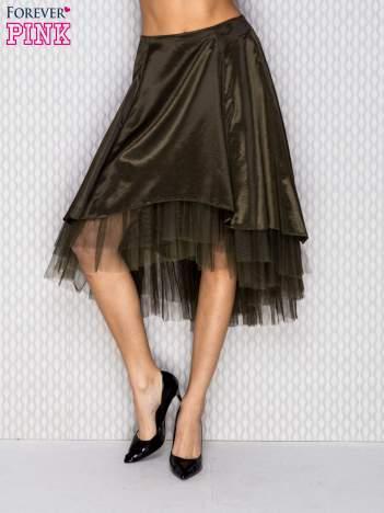 Atłasowa spódnica z tiulem ciemnozielona