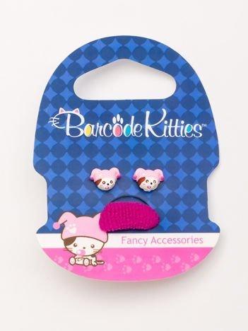 BARCODE KITTIES Zestaw kolczyki + różowa gumka do włosów dla dziewczynki