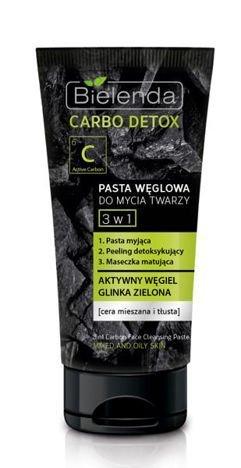 BIELENDA Carbo Detox Pasta węglowa do mycia twarzy 3 w 1 (pasta, peeling, maseczka) 150 g