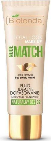 BIELENDA TOTAL LOOK MAKE-UP Nude Match Fluid Idealne Dopasowanie naturalny beż 02 30 g