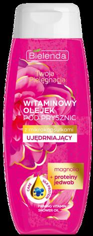BIELENDA Twoja Pielęgnacja Witaminowy olejek pod prysznic z mikrokapsułkami ujędrniający Magnolia i Proteiny jedwabiu 400 ml