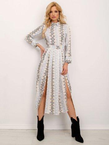 BSL Beżowo-szara wzorzysta sukienka