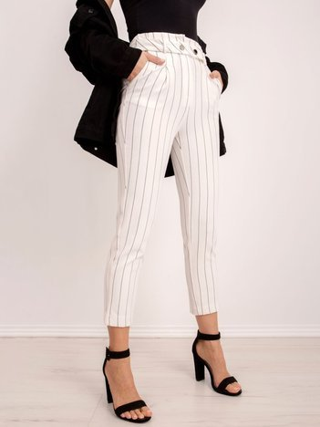 BSL Białe spodnie w prążki