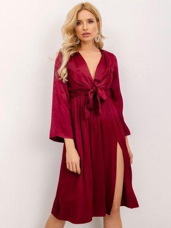 BSL Bordowa sukienka z plisami