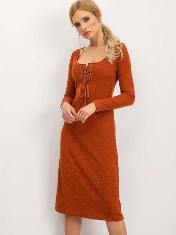 BSL Brązowa sukienka ze sznurowaniem