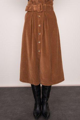 BSL Ciemnobrązowa spódnica z paskiem