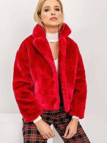 BSL Ciemnoczerwona futrzana kurtka