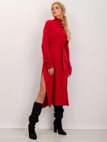 BSL Czerwona sukienka z golfem
