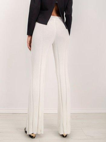 BSL Ecru prążkowane spodnie