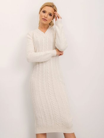 BSL Ecru sukienka dzianinowa