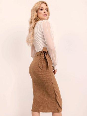 BSL Jasnobrązowa spódnica z wiązaniem