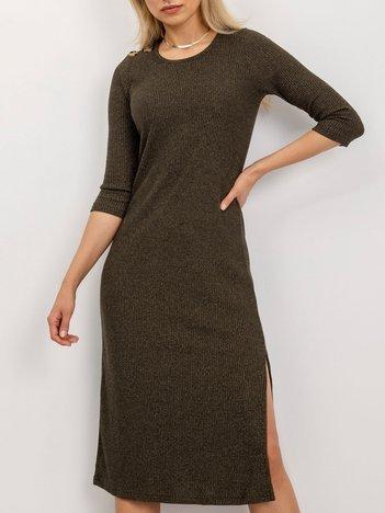BSL Khaki sukienka w prążek
