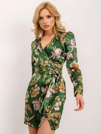BSL Zielona sukienka z nadrukiem