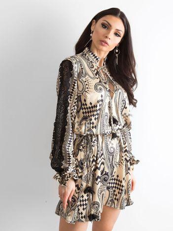 BY O LA LA Beżowa sukienka we wzory