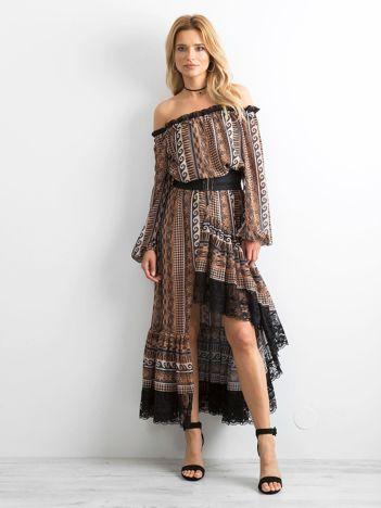 70f5af38ff BY O LA LA Brązowa asymetryczna sukienka
