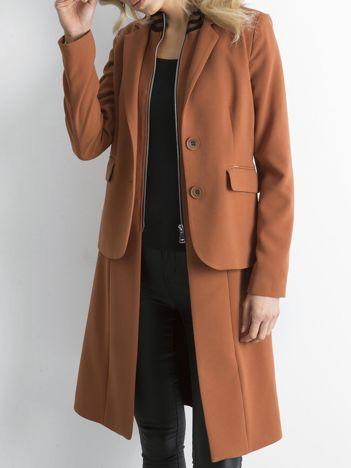 BY O LA LA Brązowy długi żakiet o kroju płaszcza