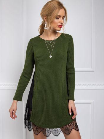 BY O LA LA Ciemnozielony długi sweter