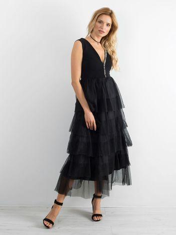 BY O LA LA Czarna elegancka sukienka