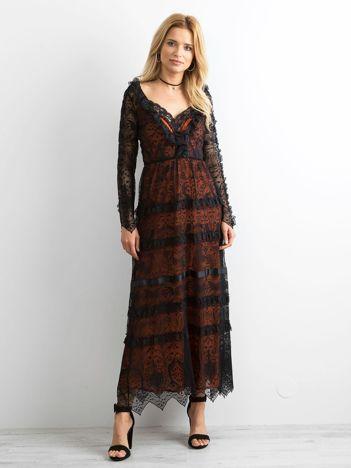 6299e9128f BY O LA LA Czarna sukienka maxi z koronki