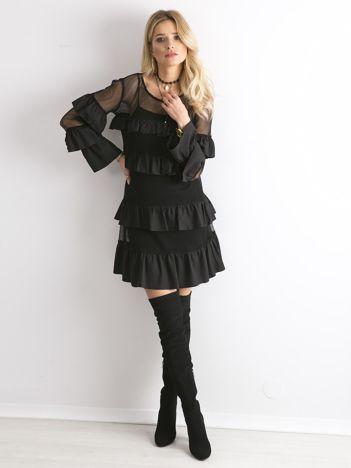 BY O LA LA Czarna sukienka z ażurowymi wstawkami