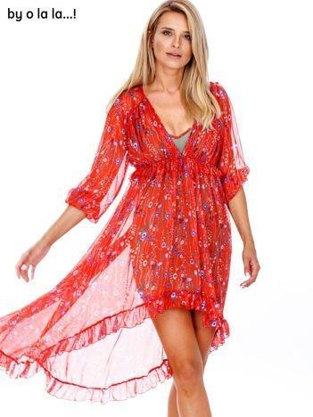 BY O LA LA Czerwona sukienka w drobne kwiaty