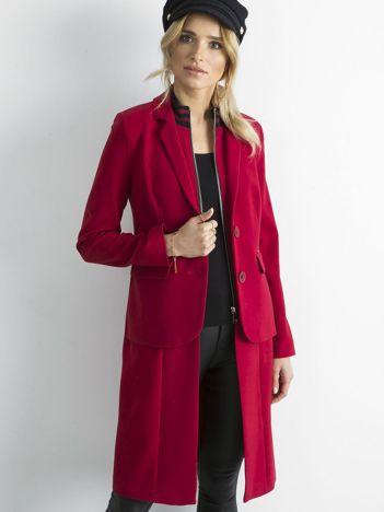 BY O LA LA Czerwony długi żakiet o kroju płaszcza