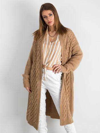BY O LA LA Jasnobrązowy długi sweter