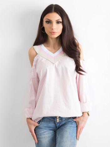 BY O LA LA Jasnoróżowa bluzka w paski