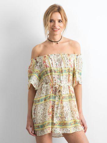 BY O LA LA Jasnożółta sukienka hiszpanka w kwiaty