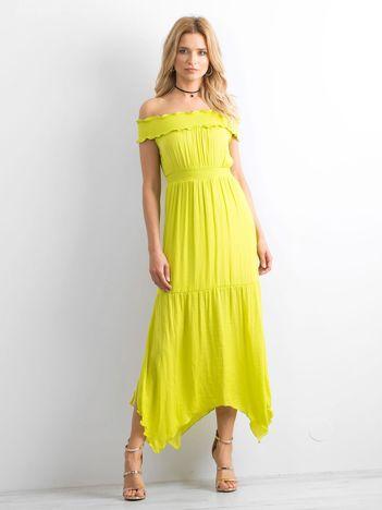 BY O LA LA Limonkowa asymetryczna sukienka