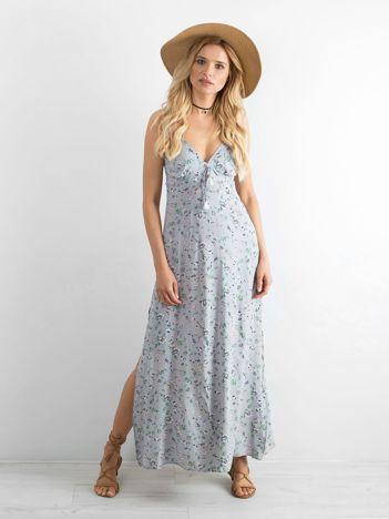 BY O LA LA Szara długa sukienka w kwiaty