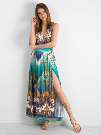 BY O LA LA Zielono-niebieska sukienka we wzory