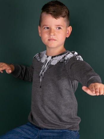 Bawełniana ciemnoszara bluza dziecięca z nadrukiem skrzydeł