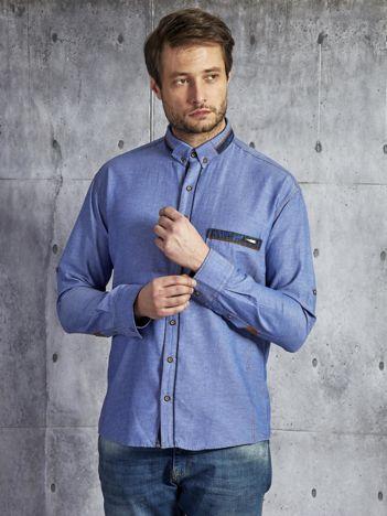 Bawełniana denimowa koszula męska niebieska