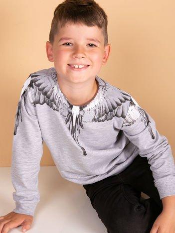 Bawełniana jasnoszara bluza dziecięca z nadrukiem skrzydeł