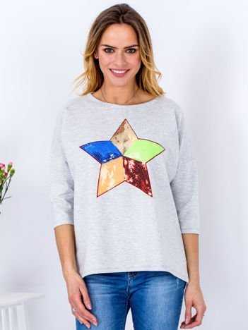 Bawełniana jasnoszara bluzka oversize z cekinową gwiazdą