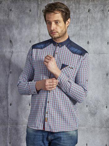 Bawełniana koszula męska w kratkę czerwono-niebieska PLUS SIZE