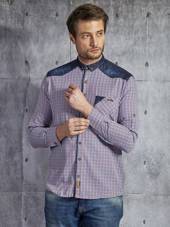 Bawełniana koszula męska w kratkę wielokolorowa.