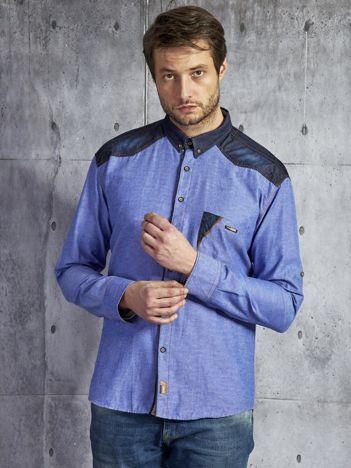 Bawełniana koszula męska ze wstawkami niebieska PLUS SIZE