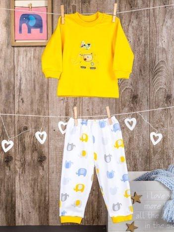 Bawełniana piżamka dziecięca w słoniki żółta